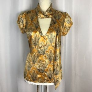 Free people peacock gold 100% silk blouse sz 8